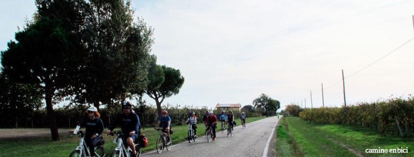 Grupo pedaleando ebikes y bicis sin asistencia